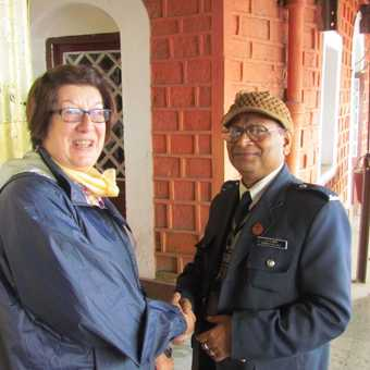 Meeting the guard of the Darjeeling Toy Train