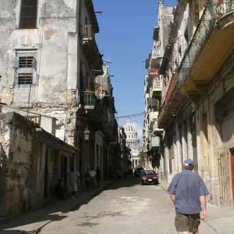 The Capitol as seen from a street in the old town Havana