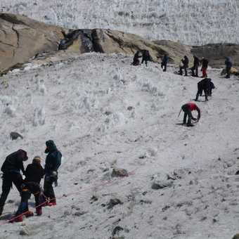 7/4 training on side of glacier, crampons and jumar