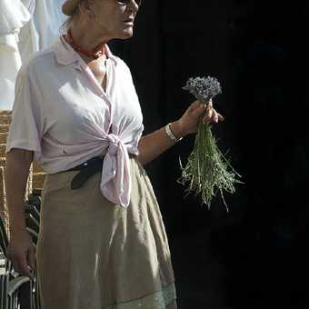 """A """"character"""" selling lavender at the local market"""