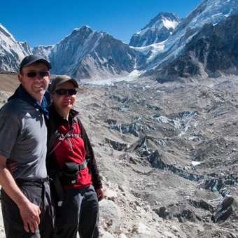 Khumbu Glacier, looking towards Everest base camp in the far distance