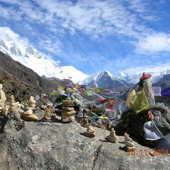 Prayer flags and cairns