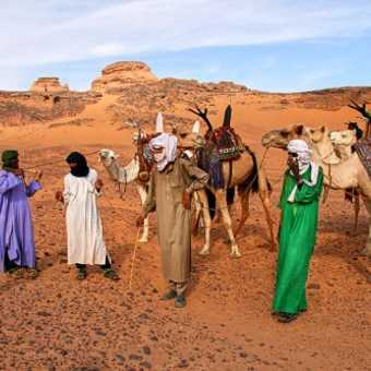 Encounter with a Tuareg caravan in the Acacus Mountains