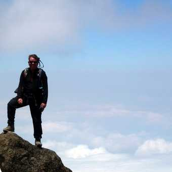 view of Mount Meru through clouds