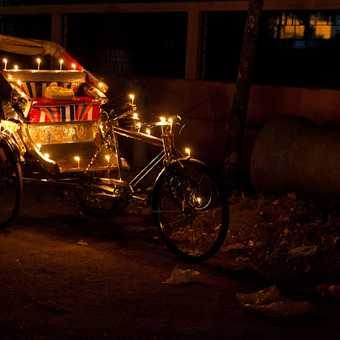 Rickshaw on a Varanasi street at Diwali