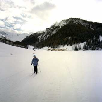 Day 3 Schmirn valley - Caroline skiing up the valley