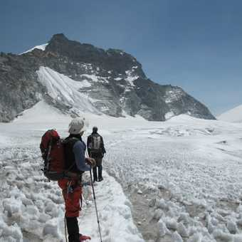 8/4 Chris on glacier on way to Mera La. High camp is behind rock outcrops on left half way up