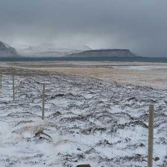 Blizzard landscape at Grundarfjordur