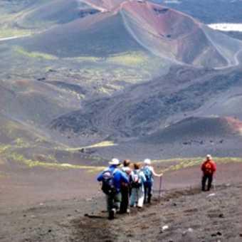 Running down lava field