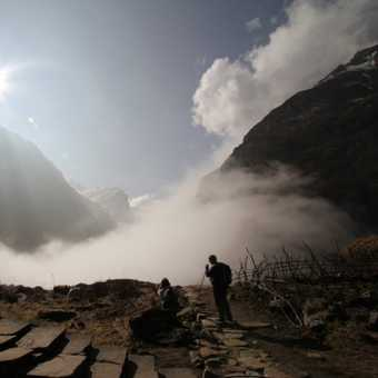 Time to descend through the clouds - heading down past Machhupuchhare base Camp