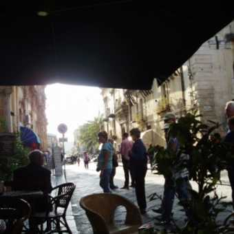 Checking out cafe in Noto