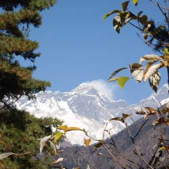 Our first good view of Everest on the trail below Namche