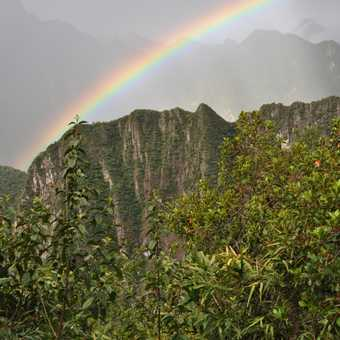from the sungate walking down to machu picchu - rainbow