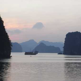 Sunset from the boat on Halon Bay Vietnam