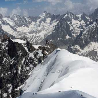 View of Aiguille du Midi from Les Bosson camp site