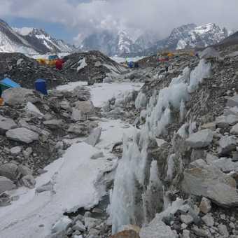 climbers on the ice fall