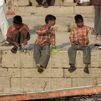 boys fishing, varanasi