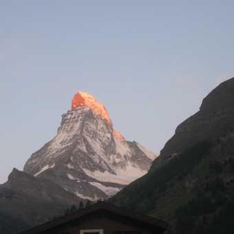 Sun setting on the Matterhorn from Zermatt