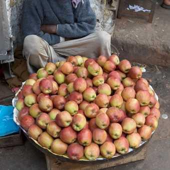 Apple salesman in Old Delhi