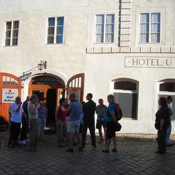 outside the hotel at Cesky Krumlov