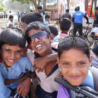 school boys crowding around my handlebars!