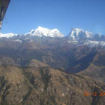 Himalaya from the plane, flying back to Kathmandu