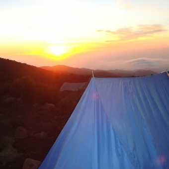 The sun sets on our last night in camp