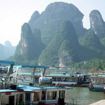 boat landing on Li River, Yangshuo