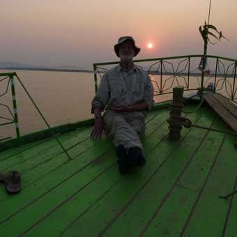 Me at sunset on Irrawaddy cruise