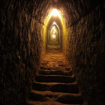 Inside Monte Alban pyramid
