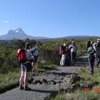 On the Trail with Guides (Mawenzi on the Left)
