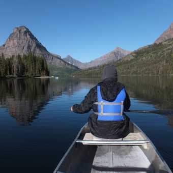 Optional canoeing on Two Medicine Lake, Glacier National Park.