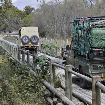 Our vehicles crossing the 'Bridge Over The River Khwai'