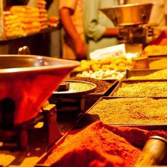 Spice stall in the bazaar at Sawai Madhopur