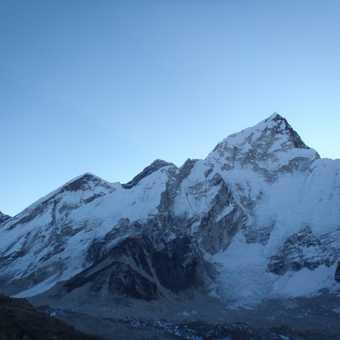 Sunrise behind Everest as we climb Kala Pattar