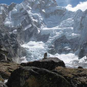 Trekkers at the base camp area