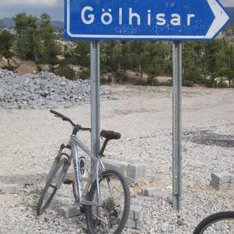 bike next to Golhisar sign