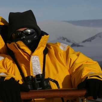 Out on deck in classic Antarctic weather
