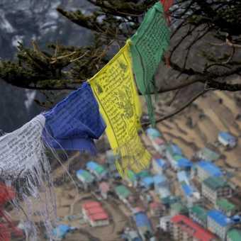 Prayer flags above Namche Bazar