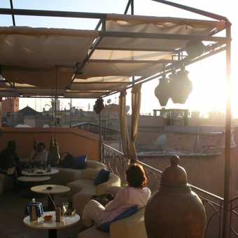 Marrakech - The Cafe Arabe at sunset