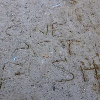 Some welcome encouragement on our 10 hour trek day from our younger group members !!!