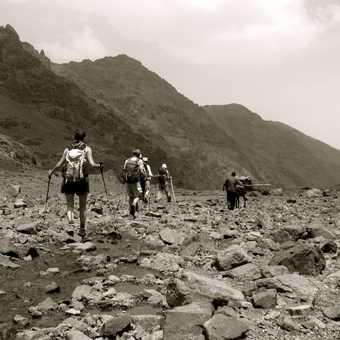 Down to Toubkal base camp