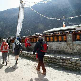 Prayer wheels at Khumjung