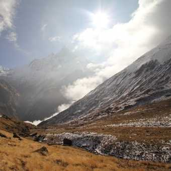 Looking back toward Machhupuchhare Base Camp from the path to Annapurna Base camp