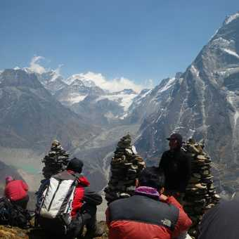 5/4 acclimitisation climb (5,000) above Tangnag - great lookout. Mera glacier in distance. Camp in b