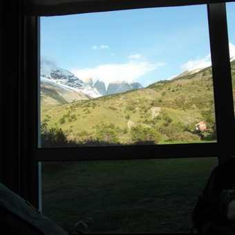 Torres del Paine from refuge bedroom