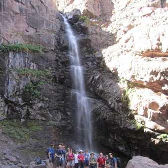 Group at waterfall