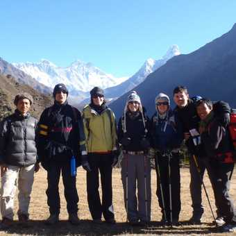 Our group with Everest and Ama Dablam behind
