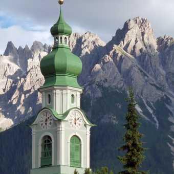 Church bell tower in Dobbiaco-Toblach
