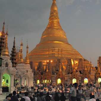 Prayers at Shwedagon Paya, at sunset